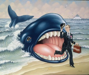 FRA 112711 Jonah and the Whale (oil on board) Aris, Fred (b.1934) (Contemporary Artist) FRED ARIS (CONTEMPORARY ARTIST), ,